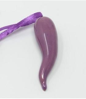 Cornetto Viola in Ceramica H.6 cm Realizzato a mano