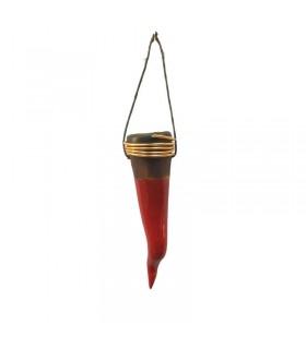 Corno in Ceramica con Testa in Rame H.9 cm Interamente realizzato a mano