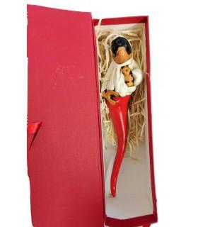 Pulcicorno in Terracotta H.21 cm Realizzato e dipinto a mano confezionato in scatola