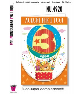 Biglietto Compleanno Mongolfiera 3 Anni conf. 6 pz.