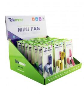 Mini Ventilatore micro USB Portatile in Plastica Expo da 24 pz. colori assortiti