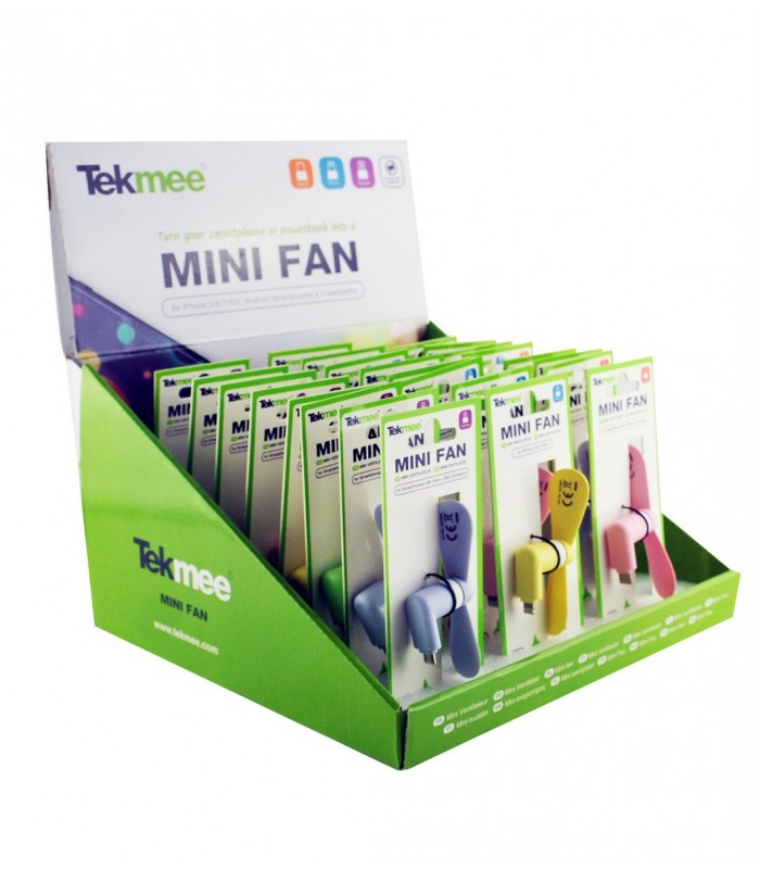 Mini Ventilatore micro USB Portatile in Plastica Expo da 24 pz. colori assortiti