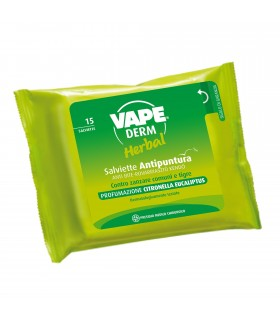 15 Salviette Antipuntura Vape Derm Herbal Profumate alla Citronella Eucaliptus