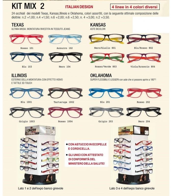 Occhiali da Vista El Charro Mix 2 Expo girevole 24 pz. assortito con 4 modelli