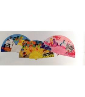 Ventagli in Tessuto e manico in Plastica conf. 12 pz. colori assortiti