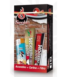 Confezionato Enjoy Freedom Cartine + Filtro + Accendino da 3 pz. cartone da 200 scatoline