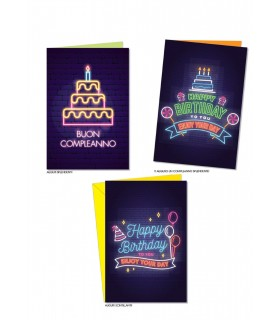 Biglietto Cromo Compleanno al Neon conf. 12 pz. assortiti