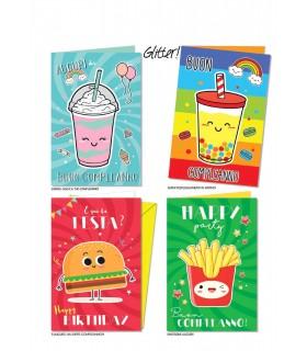 Biglietto Cromo Compleanno Fast-Food conf. 12 pz. assortiti