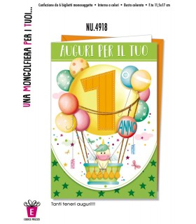 Biglietto Cromo Compleanno Mongolfiera 1 Anno conf. 6 pz.