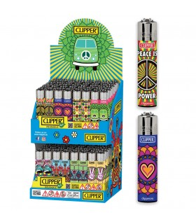 Accendino Clipper Large Hippie Fun Espositore  in Cartone da 96 pz. assortito con 8 grafiche