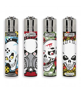 Accendino Clipper Large Skulls Kill conf. 48 pz. assortito con 4 grafiche