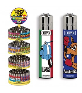 Accendino Clipper Large Worldtour  Expo Girevole da 192 pz. assortito con 16 grafiche