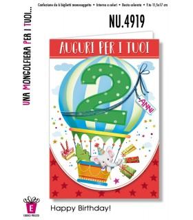 Biglietto Cromo Compleanno Mongolfiera 2 Anni conf. 6 pz.