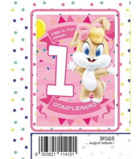 Biglietto Marpimar Compleanno Warner Bros con Glitter 1 Anno Bambina  conf. 6 pz. monosoggetto