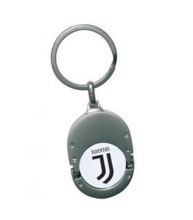 Portachiavi FC Juventus in Metallo con moneta Sganciacarrello