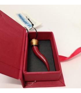 Corno Doppia Corona mini in Ceramica Rosso H.4 cm Realizzato e dipinto a mano