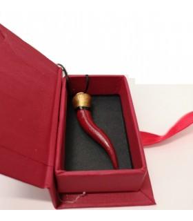 Corno Corona in Ceramica Rosso H.6 cm Realizzato e dipinto a mano