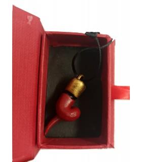 Corno a Spirale in Caramica Rosso mini H.3 cm Realizzato e dipinto a mano