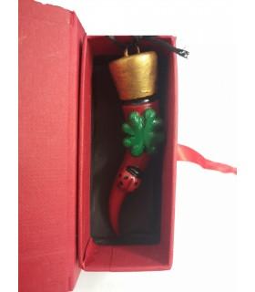 Corno Corona Ceramica Rosso grandecon Quadrifoglio e Coccinella H. 8 cm Realizzato e Dipinto a mano