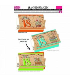 Biglietto Cromo Compleanno 18 Anni portasoldi conf. 12 pz.