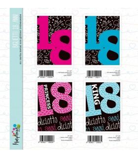 Biglietto Marpimar Compleanno 18 Anni su carta metal conf. 12 pz. assortiti