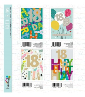 Biglietto Marpimar compleanno 18 Anni con foil conf. 12 pz. assortiti