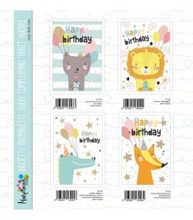 Biglietto Marpimar Compleanno Animaletti conf. 12 pz. assortiti