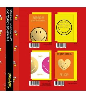 Biglietto Marpimar Compleanno Smiley con foil oro conf. 12 pz. assortiti