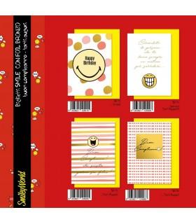 Biglietto Marpimar Compleanno Smiley con foil bronzo conf. 12 pz. assortiti