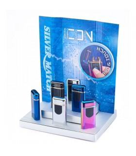 Accendino Elettronico Silver Match con Arco al Plasma e ricarica USB Expo da 6 pz. colori assortiti
