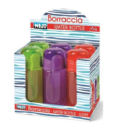 Borraccia in Plastica Niji  400ml Expo da 6 pz. assortiti in 3 colori
