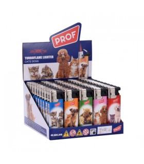 Accendino Elettronico Turbo Flame Proof Dogs conf. 50 pz. assortito con 5 fantasie