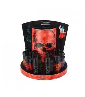 Accendino Champ Turbo Blueflame Doppia fiamma 3D Skull Expo da 12 pz. colori assortiti