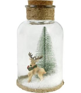 Bottiglia in Vetro Decorativa con Abete e Neve con Cervo H.20 cm