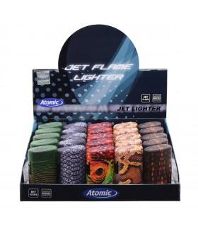 Accendino Elettronico Atomic Skin Blue Jetflame conf. 25 pz. assortito con 5 fantasie colori