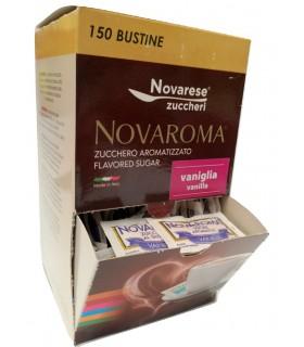 ZUCCHERO NOVAROMA AROMATIZZATO ALLA VANIGLIA  IN BUSTINA DA 5 g ESPOSITORE DA 150 BUSTINE