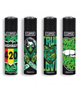 Accendino Clipper Large  Girl Weed conf. 48 pz. assortiti con 4 grafiche