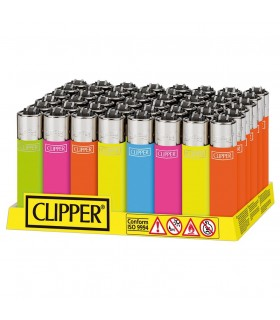 Accendino Clipper Large Solid Fluo Mix conf. 48 pz. assortiti in 4 grafiche