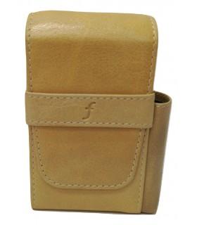 Copripacchetto di Sigarette con Porta Accendino Flaminaire in similpelle colore Cognac