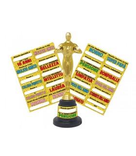 Trofeo Oscar in plastica con etichette personalizzabile