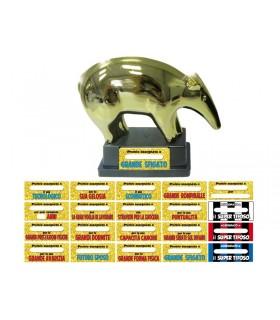 Tapiro d'oro in Plastica H.17.5 cm con Etichette Assortite