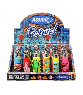 Accendino Atomic Festival Mix Design conf. 24 pz. grafiche assortite