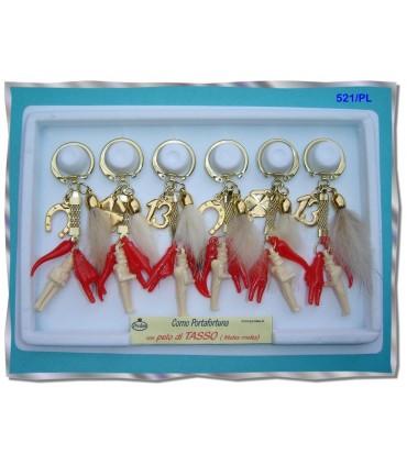 Portachiavi Tris Predan in Plastica  con Pelo di Tasso  in Cartella da 6 pz. assortita con 3 modelli
