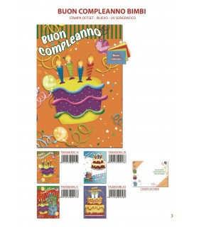 Biglietto Ekart Compleanno Bimbi conf. 12 pz. assortiti con 4 fantasie