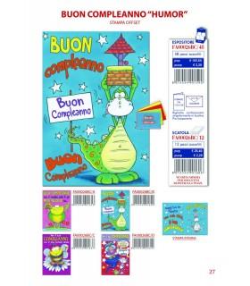 Biglietto Ekart Compleanno Humor con Glitter conf. 12 pz. assortito con 4 fantasie