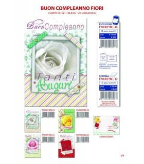 Biglietto Ekart Buon Compleanno Fiori conf. 12 pz. assortito con 4 fantasie