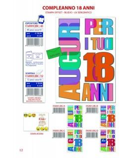 Biglietto Ekart Compleanno 18 Anni conf. 12 pz. assortiti con 4 fantasie