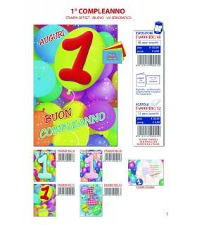 Biglietto Cecami Compleanno 1 Anno conf. 12 pz. assortito con 4 fantasie