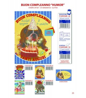 Biglietto Cecami Compleanno Humor con Glitter conf. 12 pz. assortito con 4 fantasie