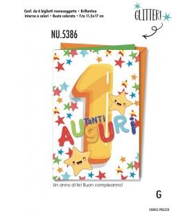 Biglietto Cromo Compleanno 1 Anno conf. 6 pz. monosoggetto